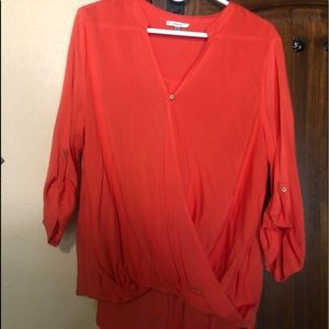 Jodifl Top; Size Large; Tangerine; 3/4 sleeve